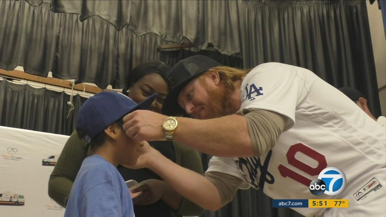 Dodger stars Adrian Gonzalez and Justin Turner distributed free reading glasses to more thank 40 students at an elementary school in Echo Park.