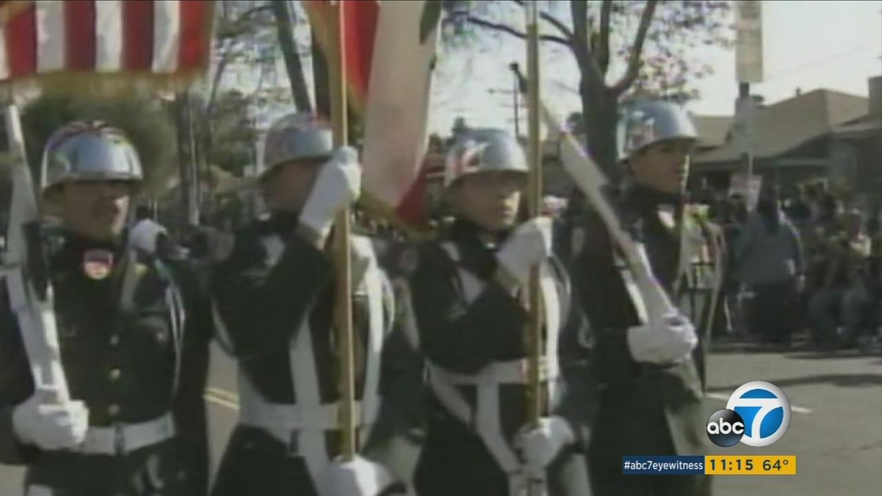 Hollywood High School Junior ROTC members march in a parade in 2012.