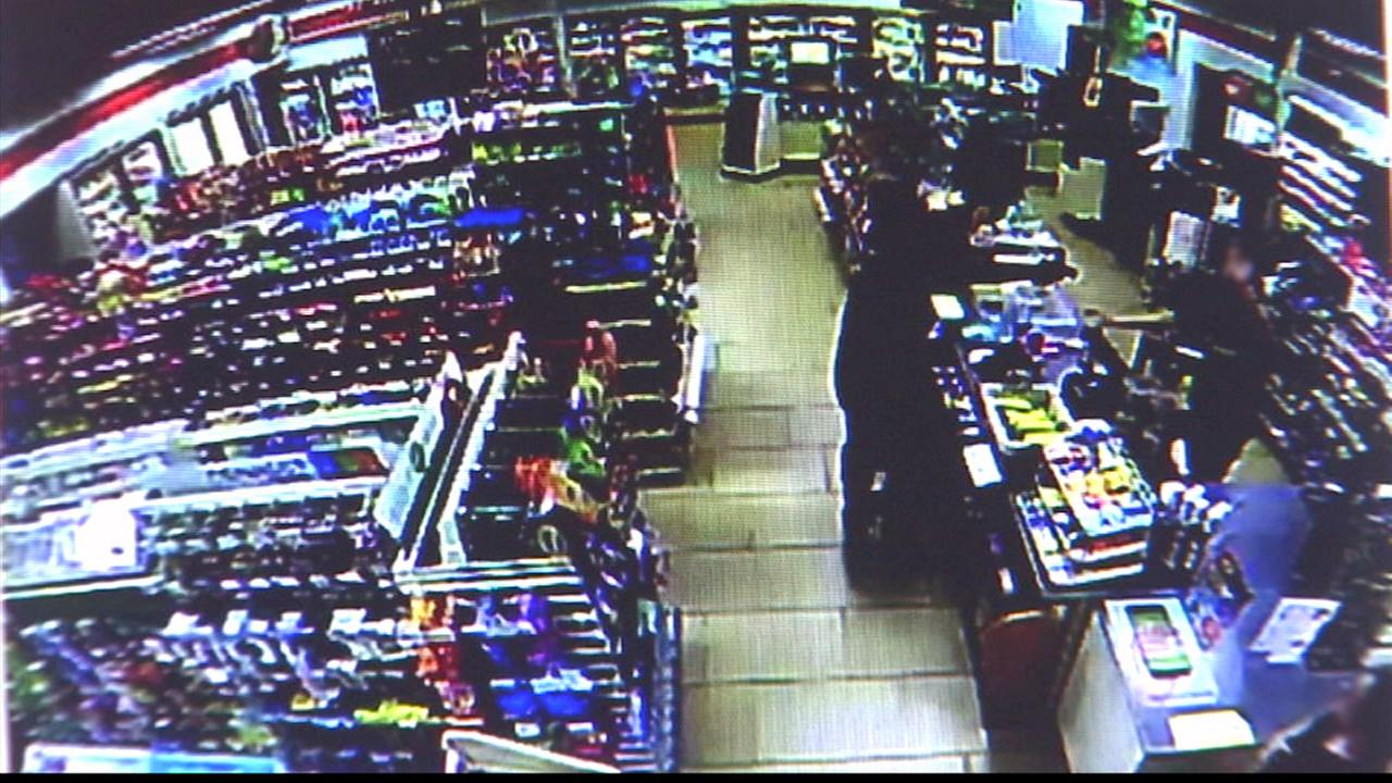 Two suspects were wanted in a string of armed robberies at 7-Elevens throughout the San Gabriel Valley.