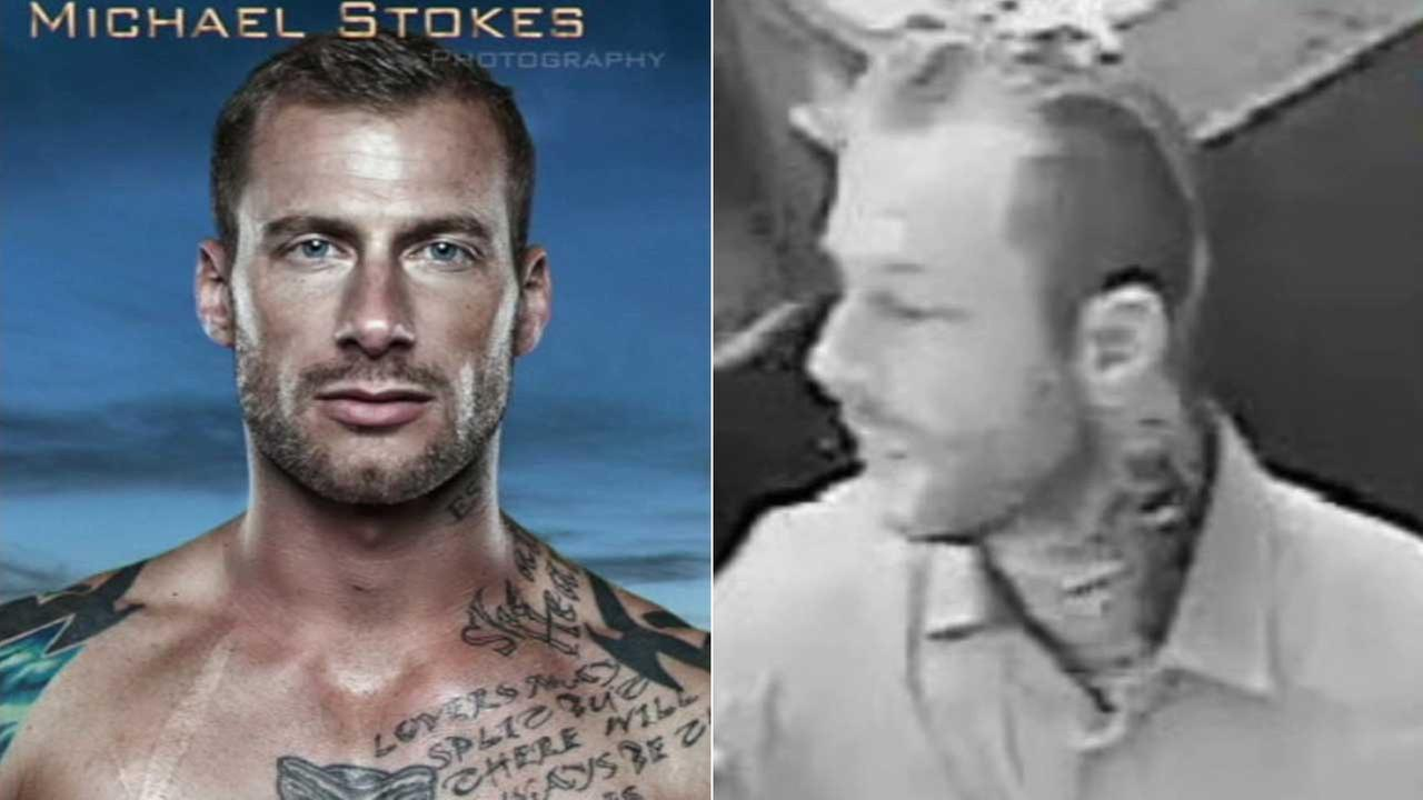 (Left) David Byers is seen in a photo by Michael Stokes Photography. (Right) A surveillance still image shows who police say is David Byers.