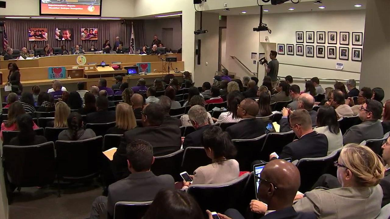 The Los Angeles Unified School District Board is shown during a meeting.