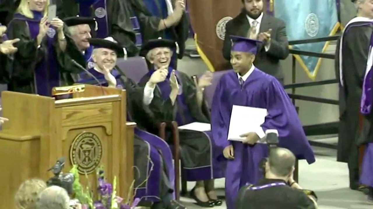 Carson Huey-You, 14, walks on stage at the Texas Christian University graduation.