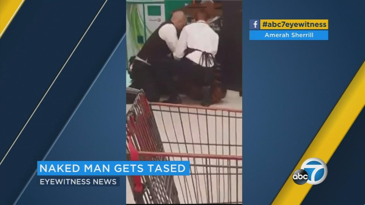 Eyewitness video shows the tasing and arrest of a man who poured bleach on himself and stripped off his clothes at a Stater Bros. store in San Bernardino.