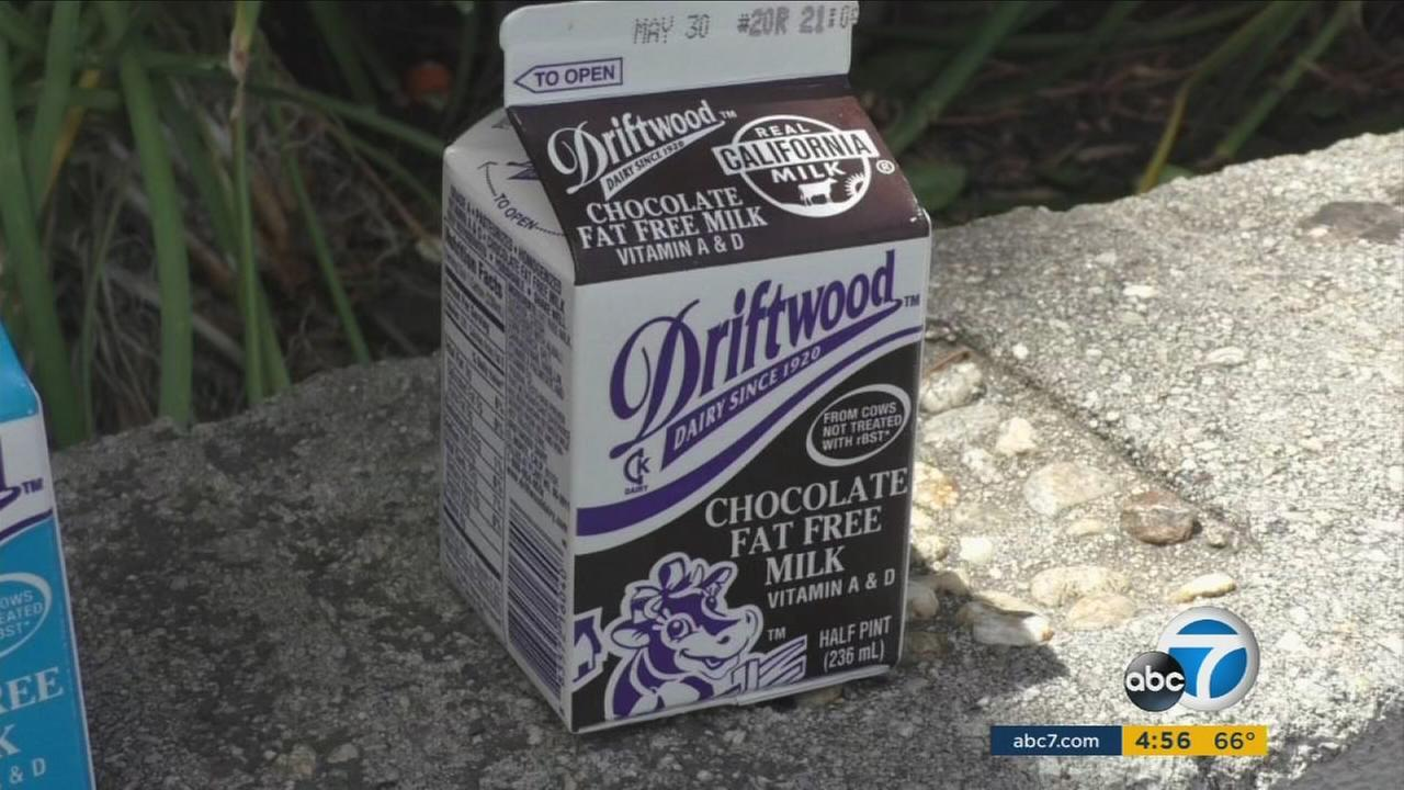 A carton of chocolate milk is shown in a photo.