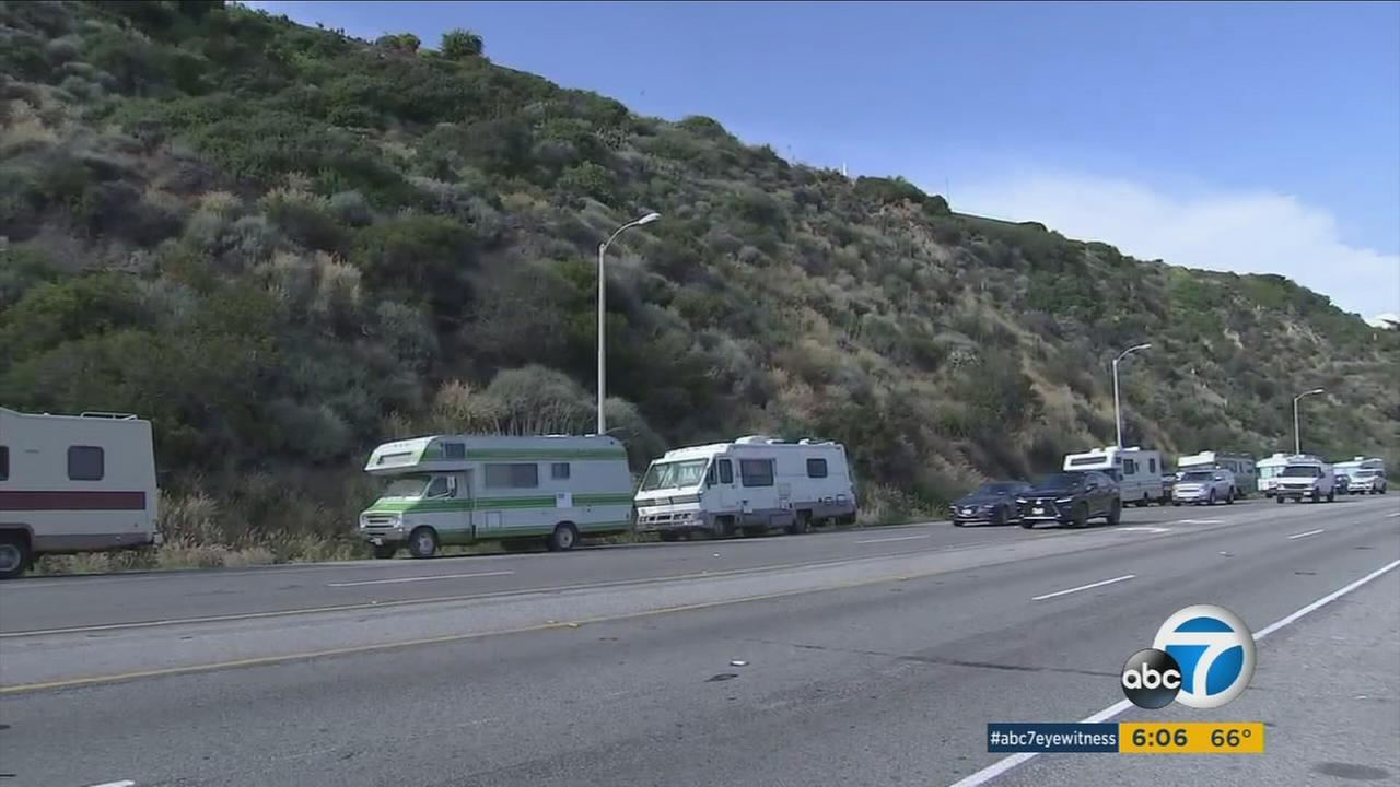 RVs are shown parked along a stretch of the Pacific Coast Highway in Malibu on Tuesday, May 16, 2017.