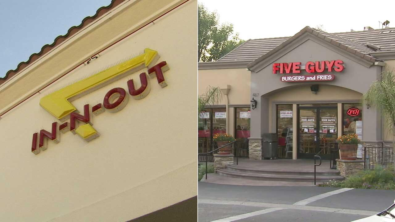 In-N-Out and Five Guys are seen in undated file photos.