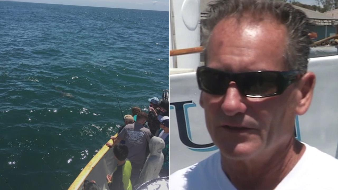 A trained whale rescuer on Friday shared his story of saving a great white shark caught up in fishing wire off the coast of Dana Point.