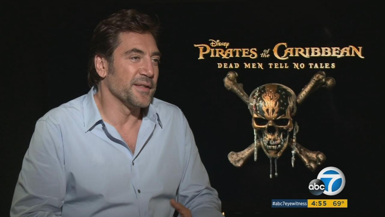 Actor Javier Bardem is shown during an interview for his part in Pirates of the Caribbean: Dead Men Tell No Tales.