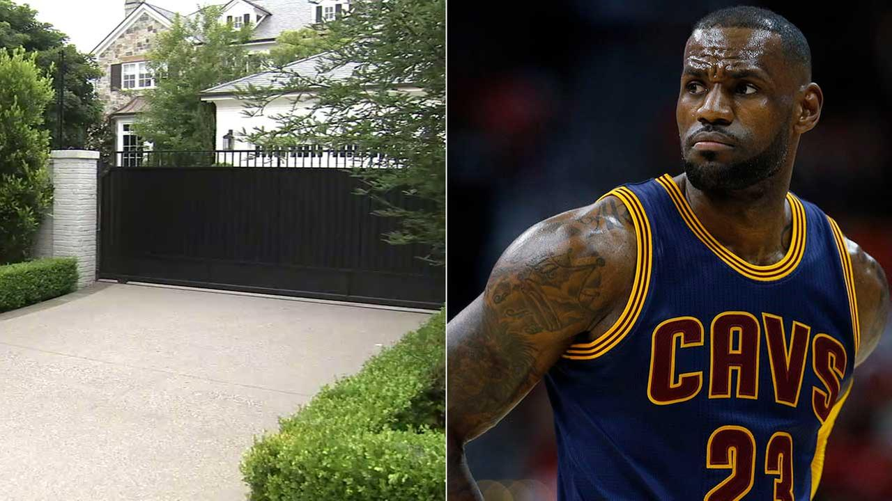 LeBron James is shown alongside his Brentwood home.