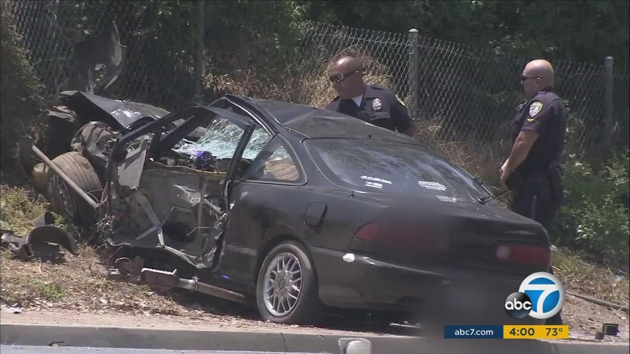 One person was killed Friday in a single-vehicle crash that police say may have stemmed from street racing in Riverside.