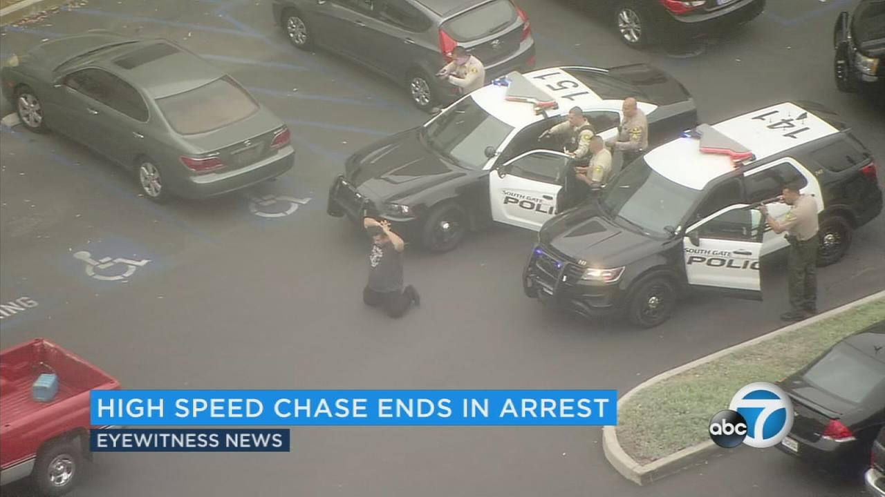 A chase suspect surrenders in Monterey Park after leading police on a pursuit on Wednesday, June 7, 2017.