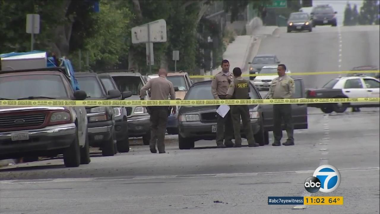 A 4-year-old boy was hospitalized after being struck by a stray bullet during a suspected gang fight Wednesday in Compton, authorities said.