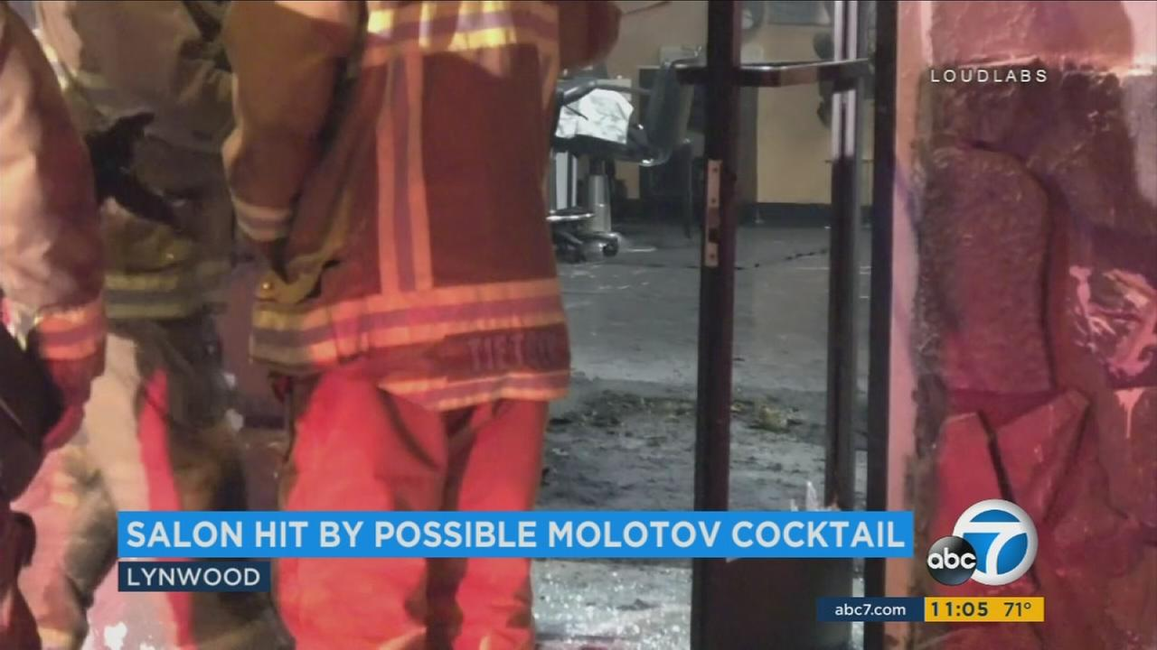 Arson investigators responded to a call at a beauty salon in Lynwood, where authorities believe a possible Molotov cocktail was thrown through a window.