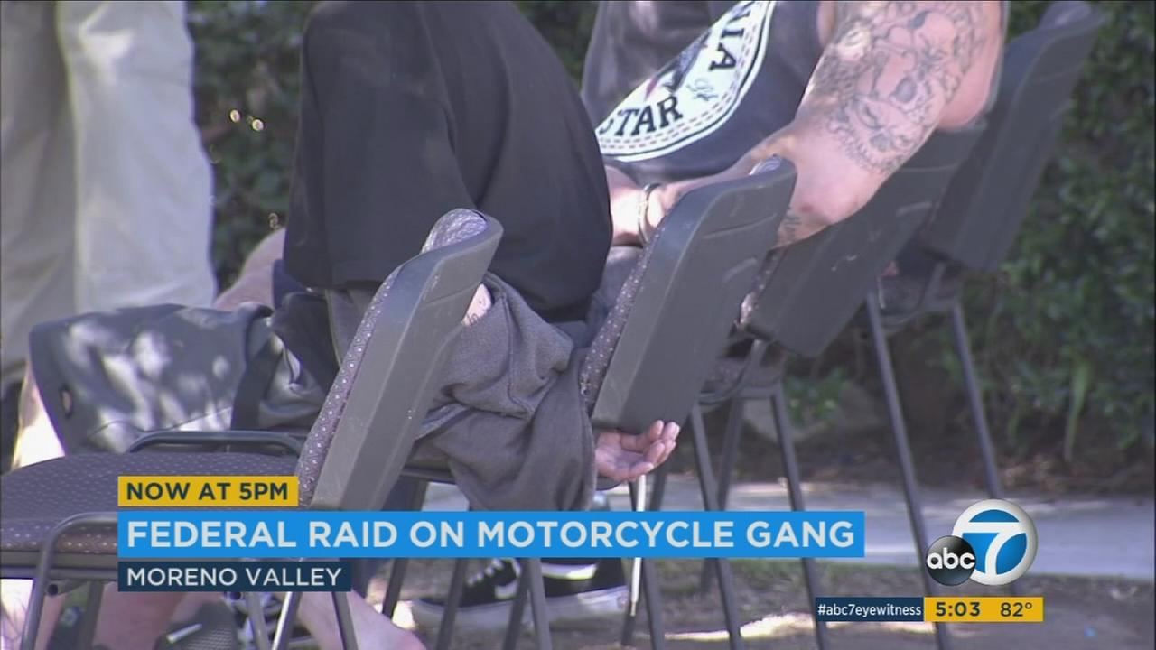Nine alleged Vagos motorcycle gang members were arrested in SoCal on federal racketeering charges. Thirteen other alleged members were also arrested in a nationwide sweep.