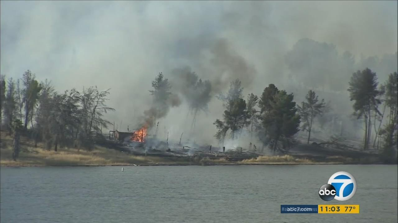 A brush fire is seen in the Castaic area.