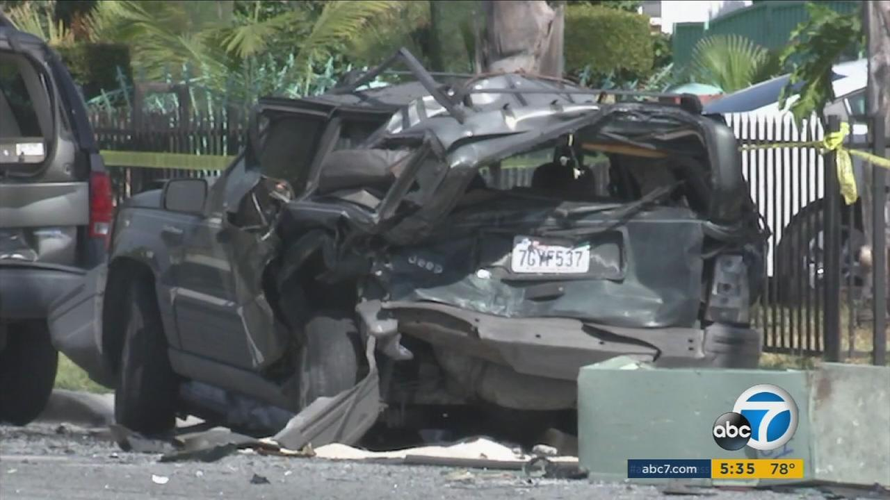 A carjacking suspect led police on a short chase before crashing into multiple cars in South Gate, where he fled on foot before being fatally shot by police on Tuesday.
