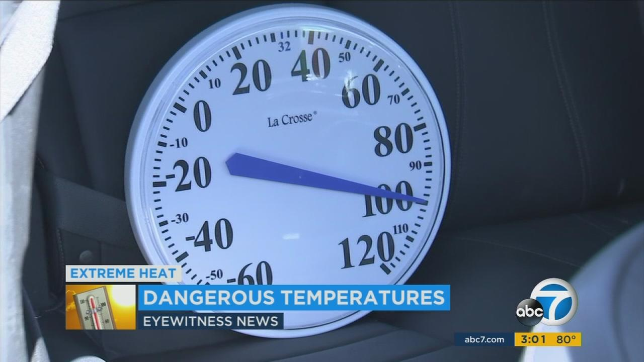 A thermometer shows the temperature inside of a car on a hot day in Canyon Country.