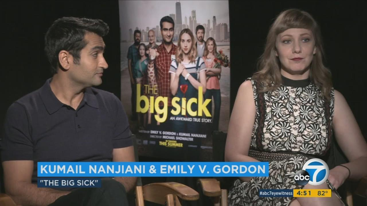 Kumail Nanjiani and Emily Gordon are shown during an interview for their new movie The Big Sick.