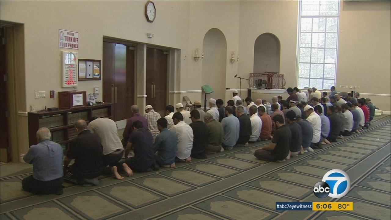 Muslims pray at a mosque in the Los Angeles area.