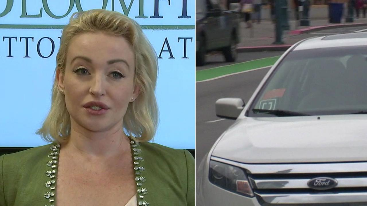 Erica Holland is shown alongside a stock image of an Uber driver.