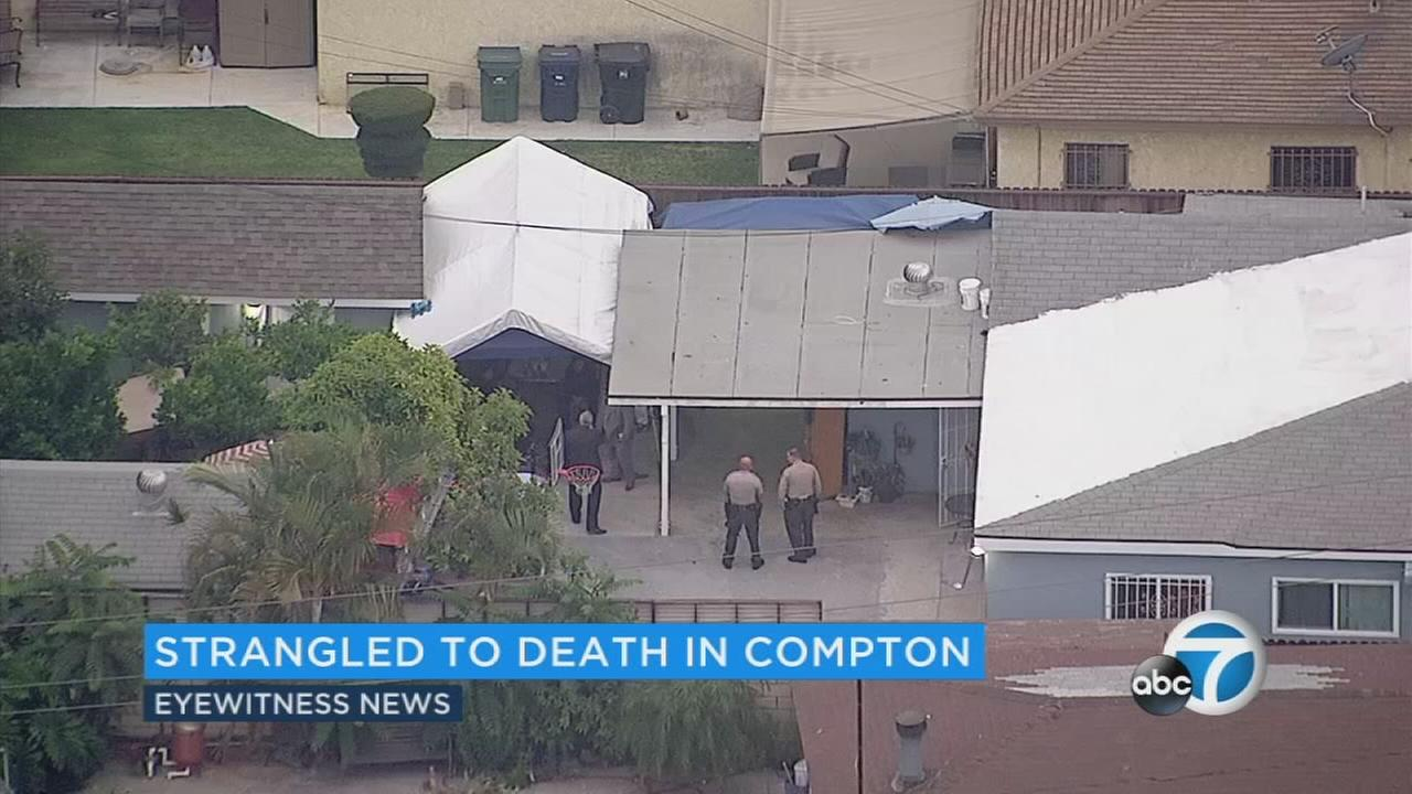A homicide investigation was underway after a woman was strangled to death in Compton early Friday, June 23, 2017.