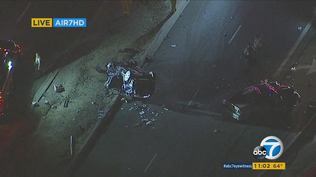 Five people were injured, three critically, in a violent head-on collision in La Habra Heights Friday night.
