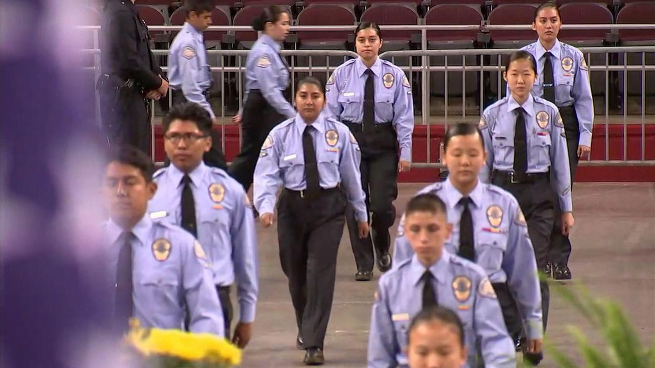 A group of LAPD cadets undergo inspection before graduation on Saturday, June 24, 2017.