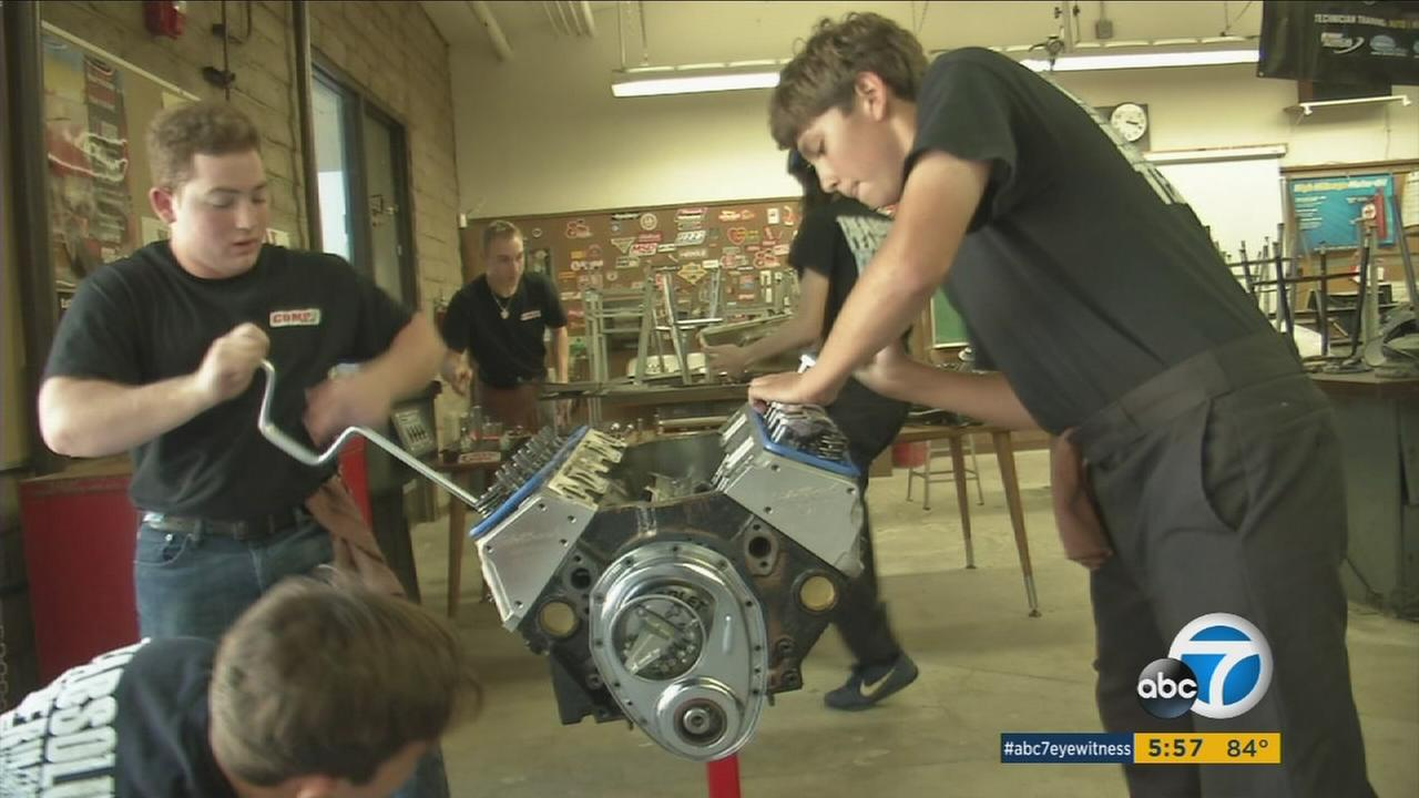 A team of auto shop students at Calabasas High School is training for a national competition and developing a practical skill set.