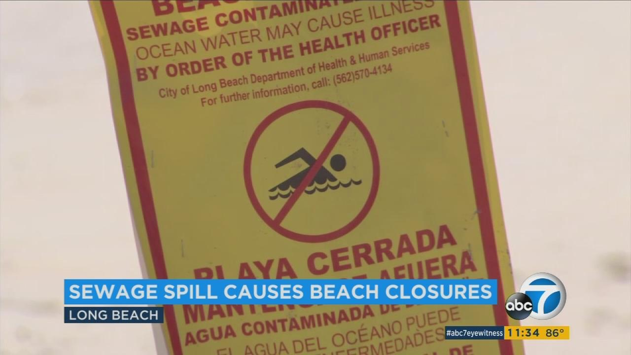 A massive sewage spill has led to a second day of beach closures in Long Beach. The closures affect beach areas in Alamitos Bay and Coronado Lagoon.
