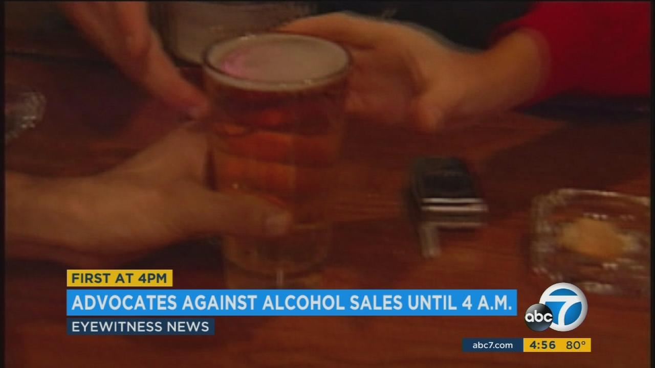 People protested outside of Los Angeles City Hall Tuesday against a bill the California Senate approved that would allow bars to operate and sell alcohol until 4 a.m.