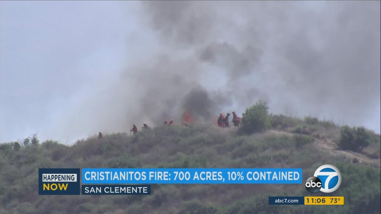 Firefighters battle the Cristianitos Fire in the Camp Pendleton and San Clemente areas.