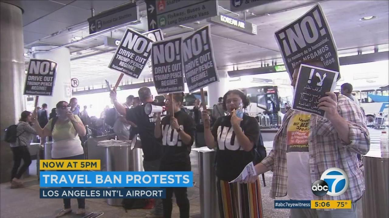 As President Donald Trumps revised travel ban took effect Thursday night, protesters gathered at LAX to demonstrate opposition.