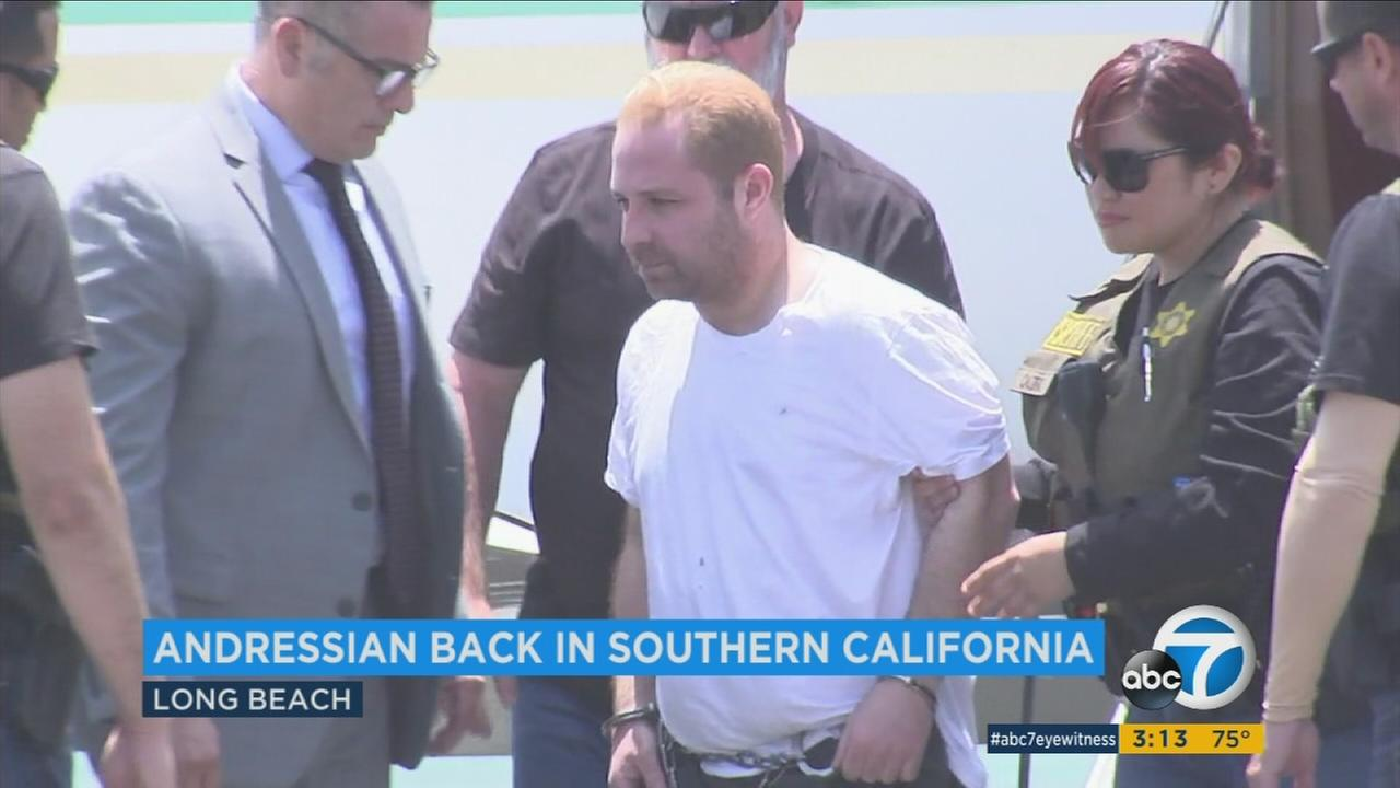 Aramazd Andressian Sr., the South Pasadena man suspected of killing his son, was flown to Los Angeles on Friday, June 30, 2017, after he was extradited from Las Vegas.