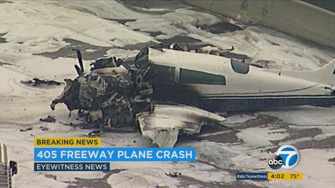 A close up image shows the damaged twin-engine Cessna 310 airplane that crash landed on the 405 Freeway in Santa Ana on Friday, June 30, 2017.