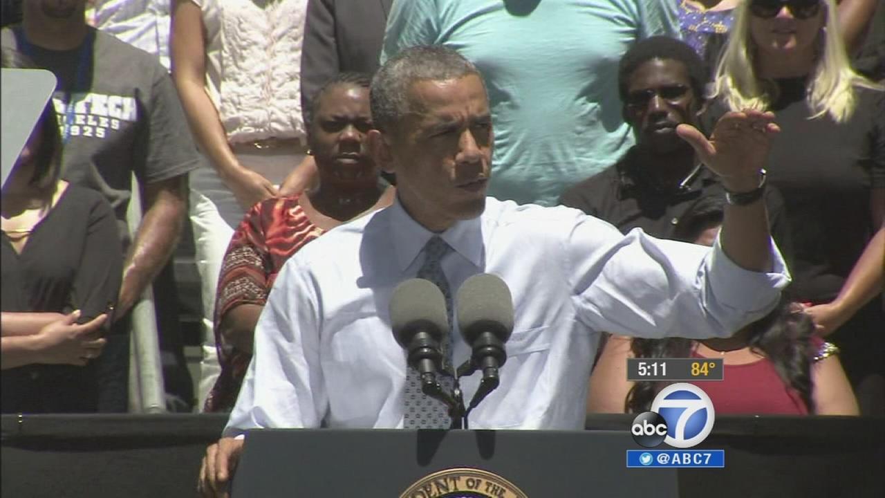 President Barack Obama speaks at Los Angeles Trade-Technical College on Thursday, July 24, 2014.