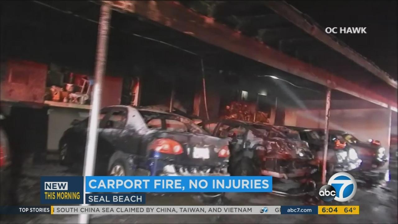 Authorities reported no injuries but damage to seven cars after a carport fire in a Seal Beach retirement community.