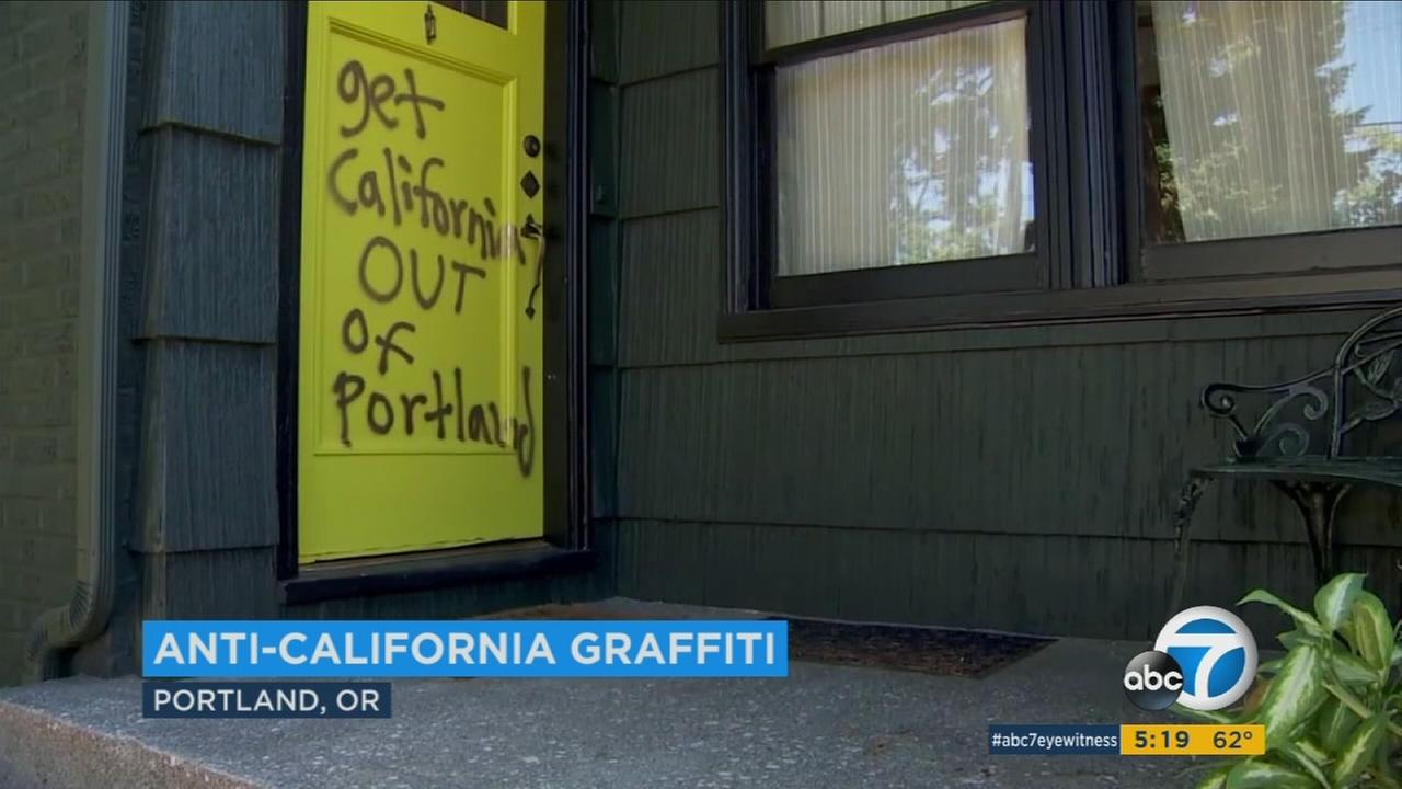 A Southern California couple who recently moved to Portland, Oregon received a not-so-neighborly welcome.