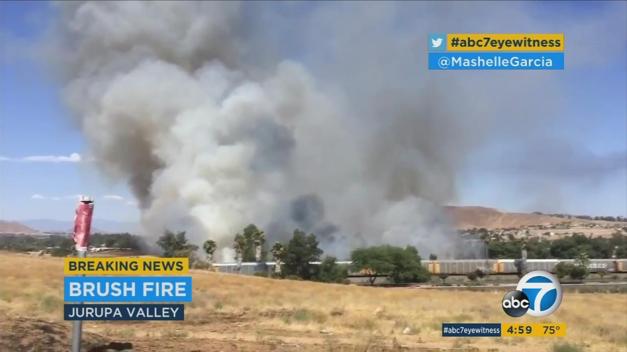 A fire has burned at least 35 acres of brush in Jurupa Valley on Tuesday, July 4, 2017.