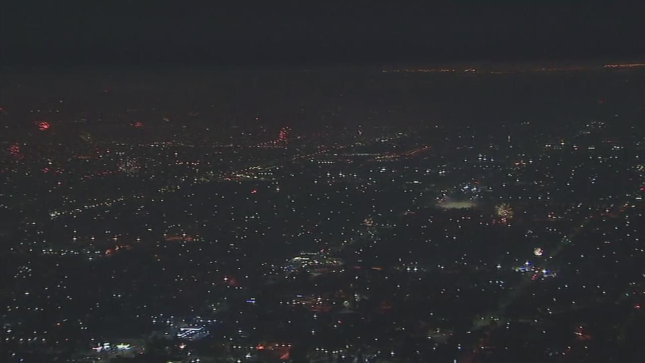 AIR7 HD captured thousands of fireworks going off all over Los Angeles on Tuesday, July 4, 2017.