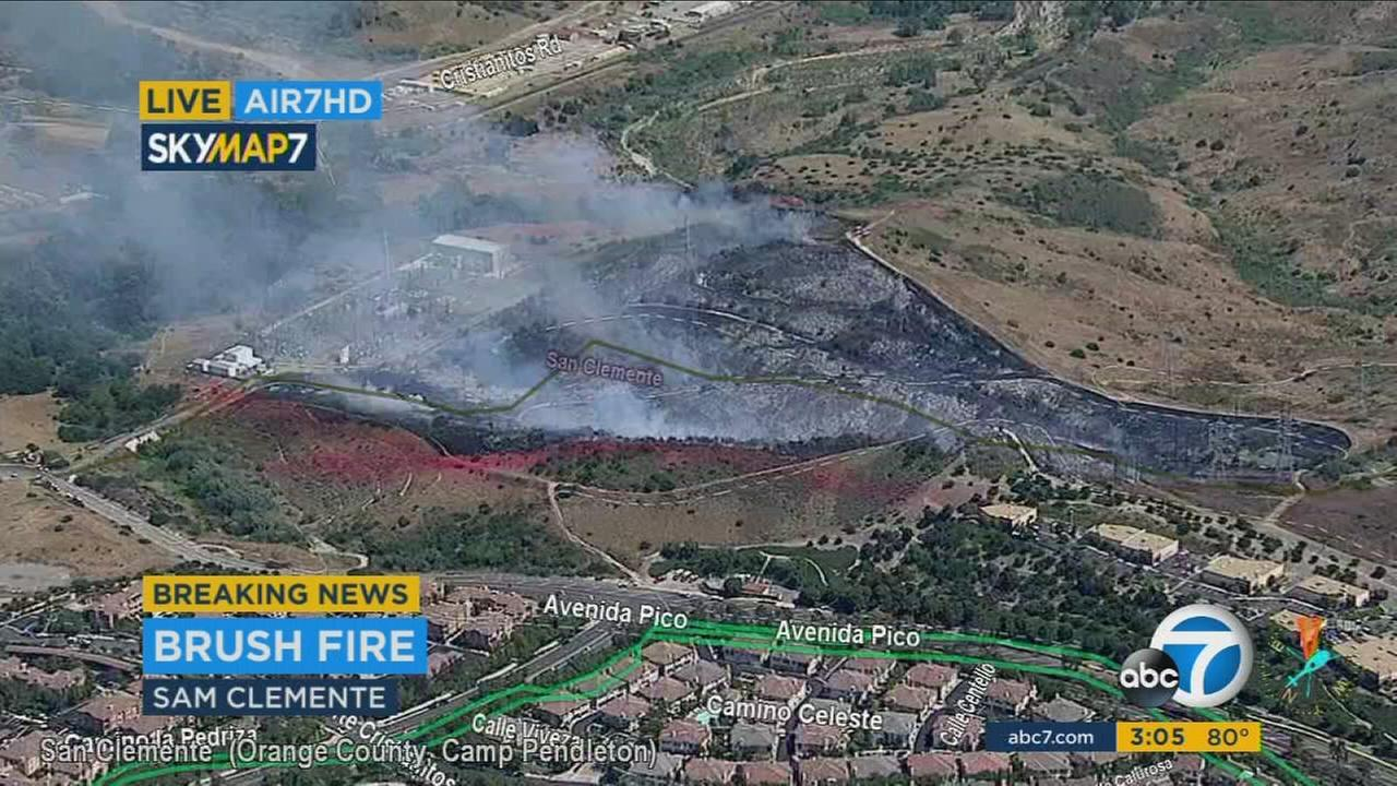 The blaze, called the La Pata Fire, was first spotted near the end of Avenida Pico off Ortega Highway, according to the Orange County Fire Authority.