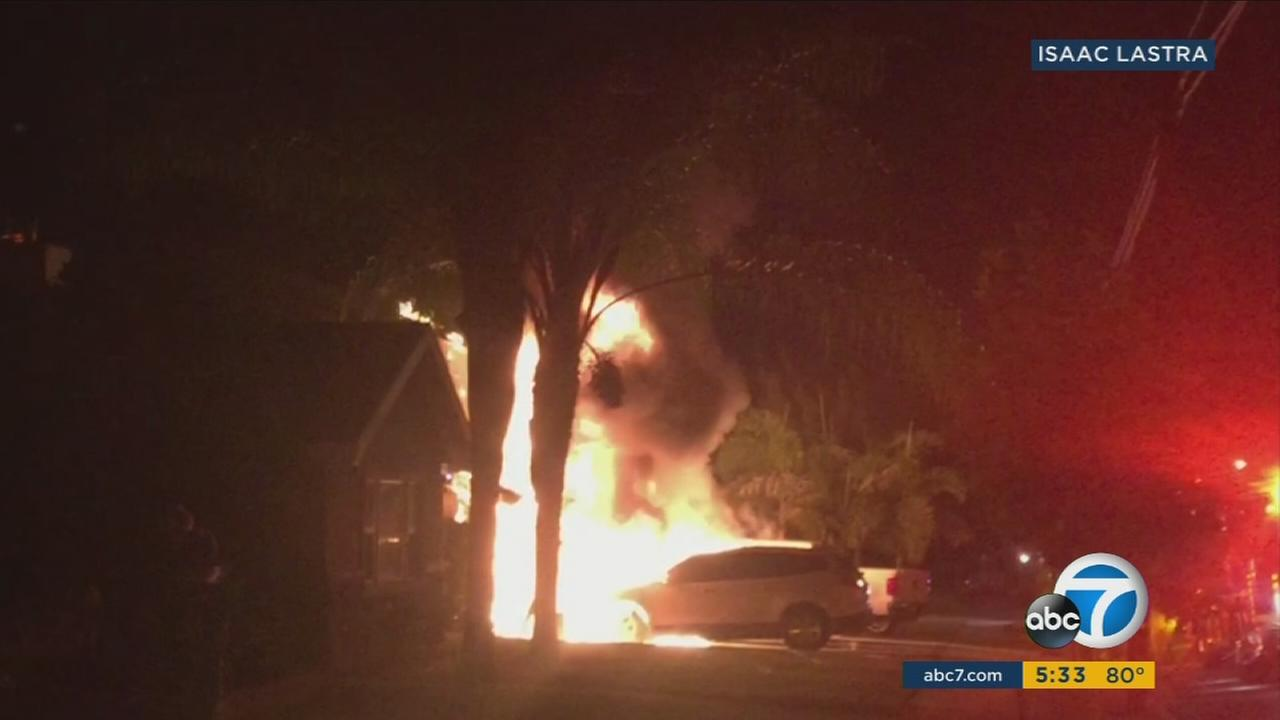 A fire rips through the garage and upper bedrooms of a Hacienda Heights room on the Fourth of July.