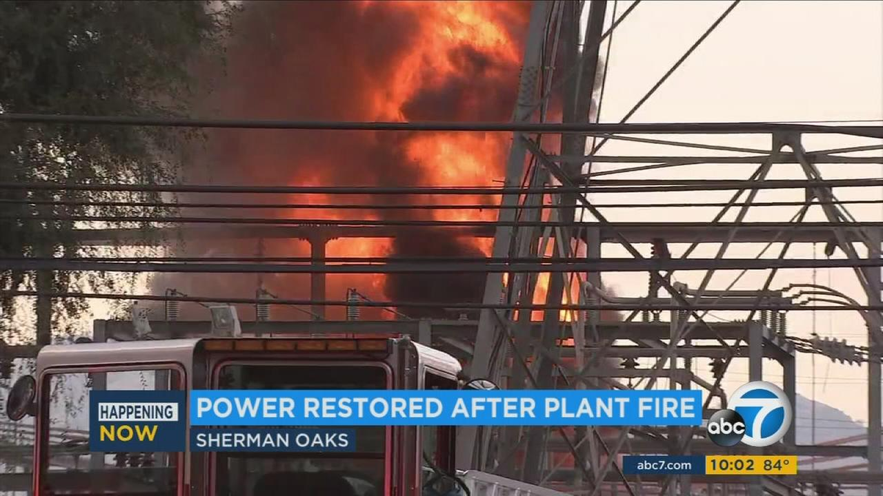 Power was fully restored in the San Fernando Valley on Sunday, July 9, 2017, the day after an explosion and a fire at a DWP facility left at least 140,000 customers without electri