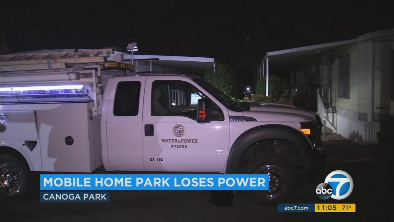 For the second time in just a few days, an entire senior citizen mobile home park in Canoga Park lost power for hours during the sweltering heat on Monday, July 10, 2017.