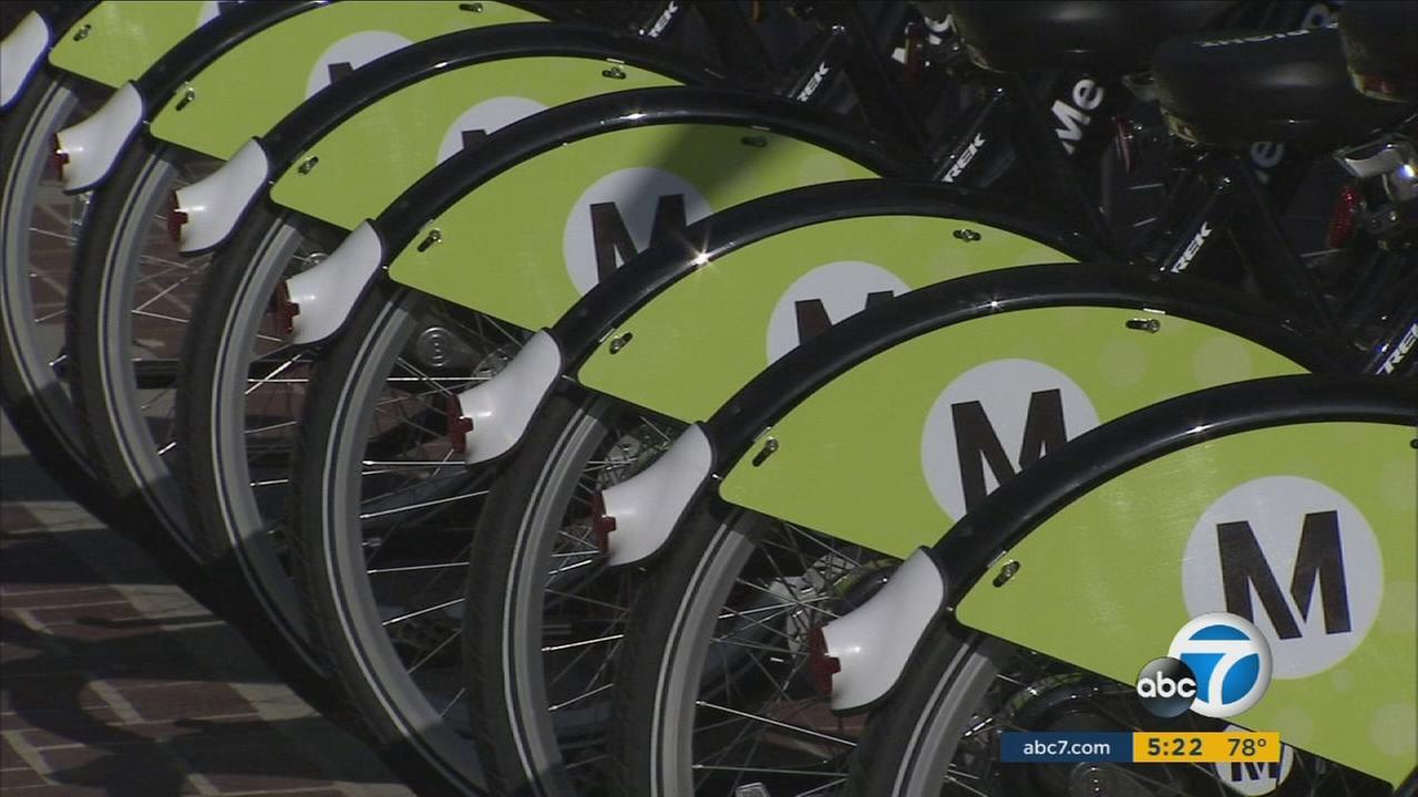 Metro bike share bicycles are shown in Pasadena on Friday, July 14, 2017.