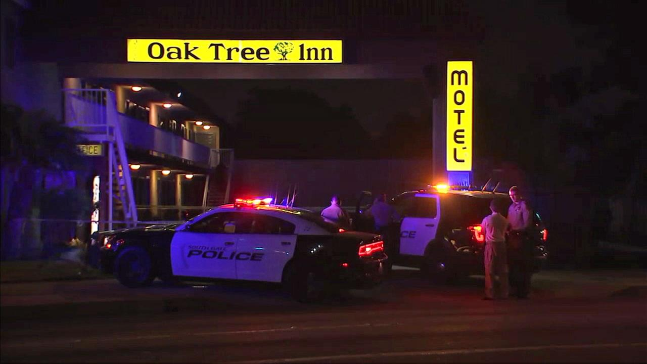 Authorities cordoned off the entrance to a motel in South Gate after a man was killed on Saturday, July 15, 2017.