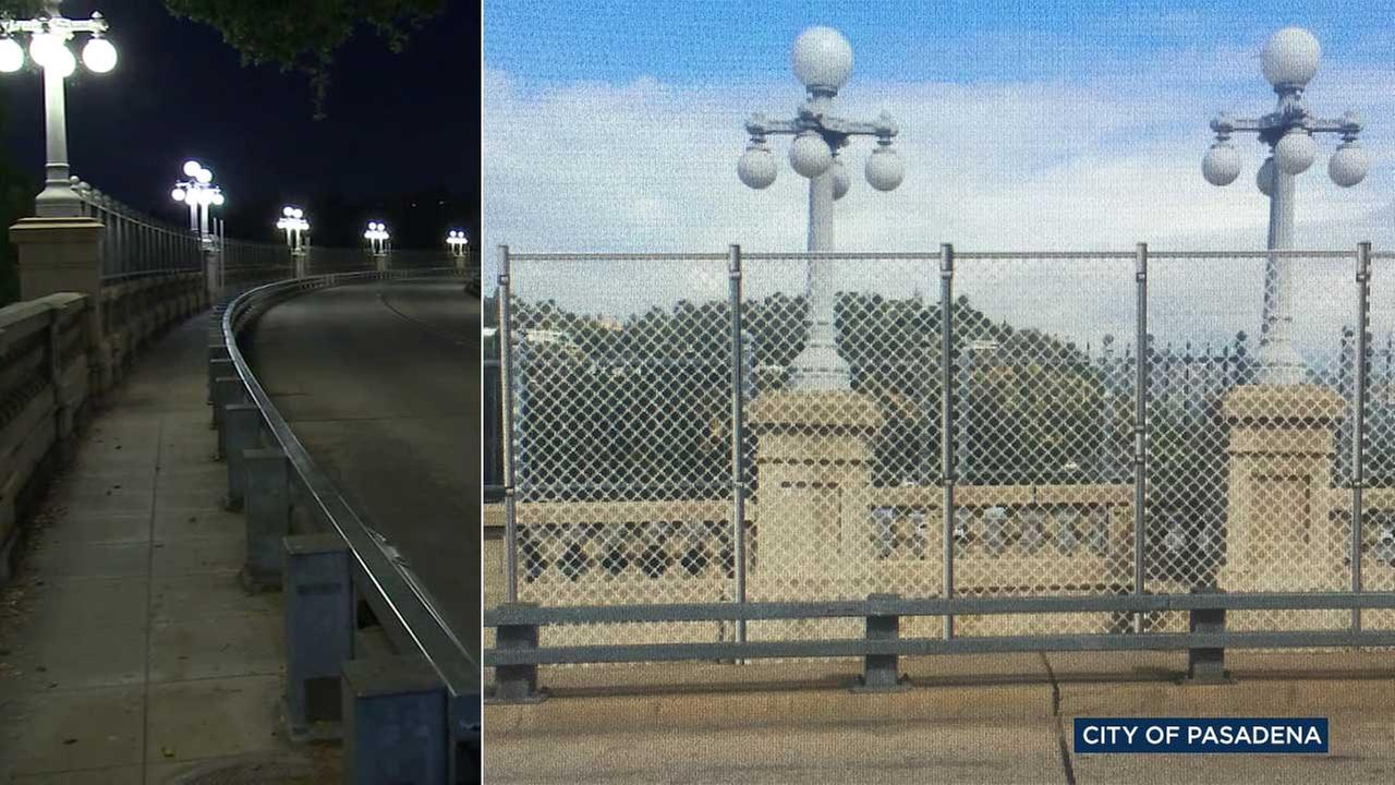 (Left) The Colorado Street Bridge in Pasadena is seen in an undated file photo. (Right) A rendering shows temporary fencing for the bridges alcoves to deter suicide attempts.
