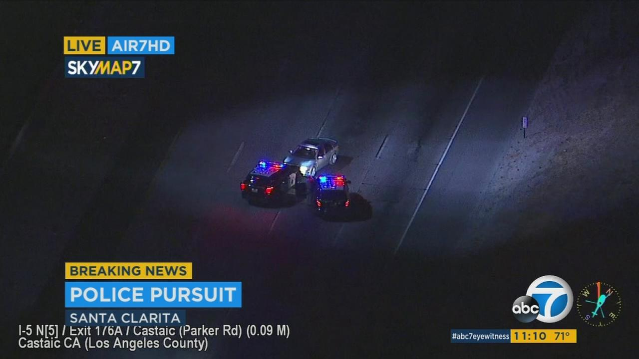 A driver led police on a chase along the northbound 5 Freeway from a collision in Glendale until she was stopped with a PIT maneuver in Castaic Monday night.