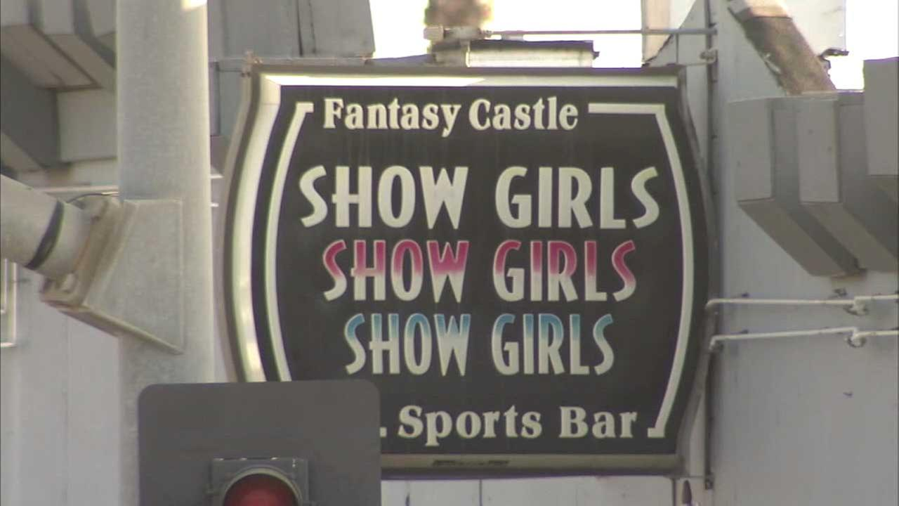 The Fantasy Castle strip club sign is seen in this photo on Tuesday, July 18, 2017.