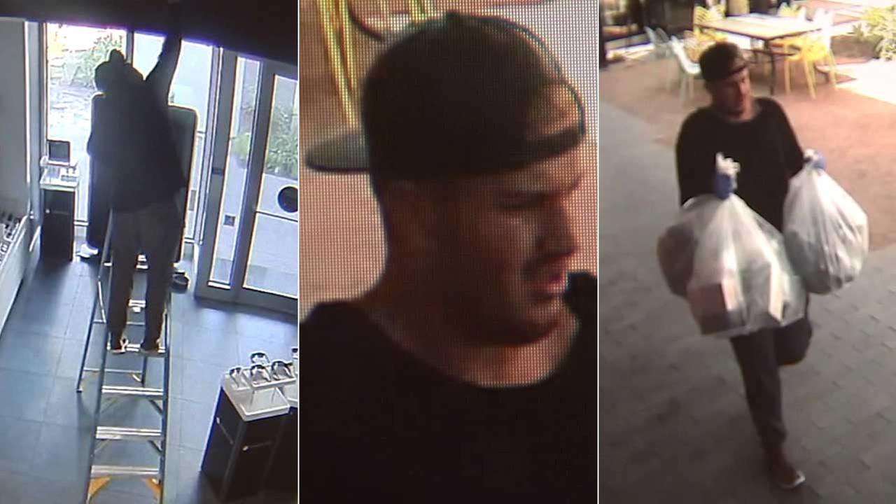 Police are searching for an armed robbery suspect dubbed the Oceans Eleven Bandit, who stole $10,000 worth of goods from a shop in Canoga Park.