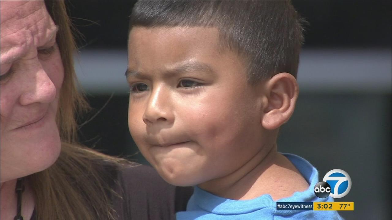 Los Angeles police said a 3-year-old boy has been reunited with his father after he was found wandering alone in North Hills Monday.